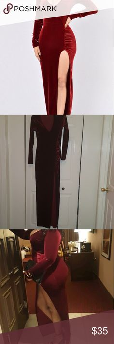 Burgundy velvet maxi dress with side split Worn once, very comfortable and stretchy Windsor Dresses Maxi