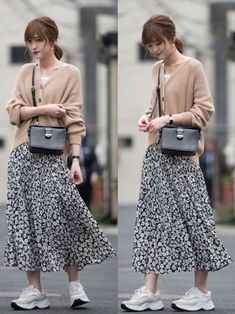 Long Skirt Fashion, Long Skirt Outfits, Modest Outfits, Modest Fashion, Fashion Outfits, Korean Girl Fashion, Korean Fashion Trends, Korea Fashion, Japan Fashion