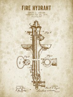 Fire Hydrant Patent From 1876 - Vintage Brown Digital Art