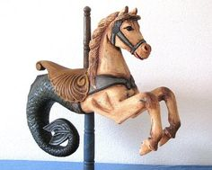 vintage seahorse rocking horse carousel horse wood merry-go-round-antique-doll