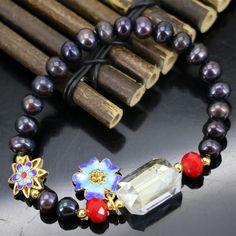 Original design blacknatural 7-8mm freshwater cultured pearl beads strand bracelet for womon cloisonne diy jewelry 7.5inch B2968