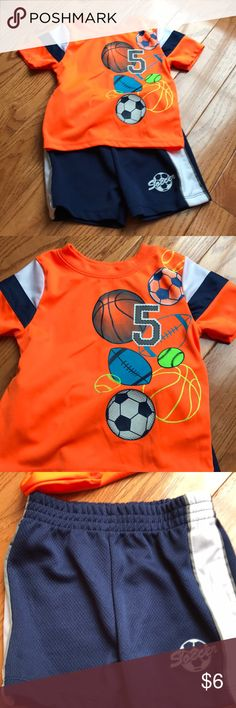 Garanimals 2 piece set Adorable elastic waist shorts and matching orange shirt.  They have my sons name in them from daycare otherwise good condition! Cross Posted Garanimals Matching Sets