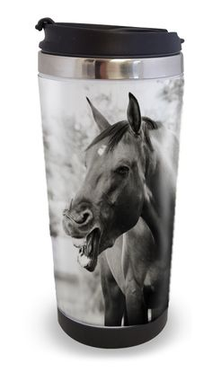 Funny Horse Travel Tumbler 14oz - The Painting Pony - sure to put a smile on any equestrian ' s face! Love the laughing horse - so cute for the horse lover!