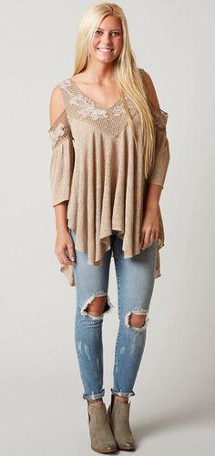 ba87f7ea93d2b3 Gimmicks Cold Shoulder Top - Women s Shirts Blouses in Tan