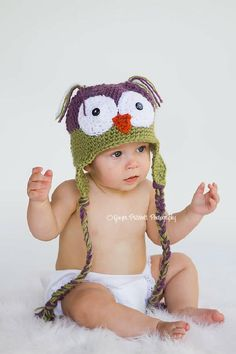 Little Baby Hoot Owl Newborn to 4 yr old size Perfect Photography Prop by LittleTurtleHatShop