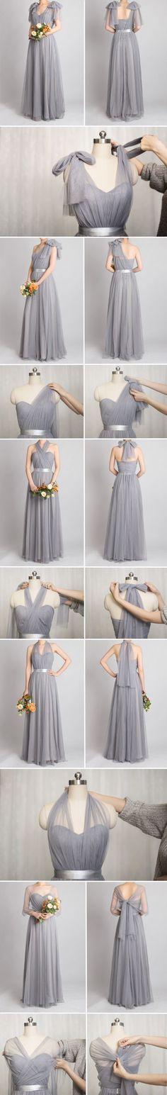 grey convertible bridesmaid dresses with tutorial