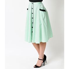 Hell Bunny Retro Pin Up Mint Dot High Waist Martie Circle Swing Skirt (83 AUD) ❤ liked on Polyvore featuring skirts, mint, white high waisted skirt, white flare skirt, white circle skirt, circle skirt and skater skirts
