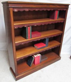 Mahogany Antique Open Victorian Bookcase circa 1860 £845  fully restored to a very high standard #openbookcase #antiquemahoganyvictorianbookcase #librarybookcase #antiquebookshelves