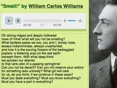"""Text-audio alignment for William Carlos Williams's hilarious ode to his nose, """"Smell!"""": http://writing.upenn.edu/pennsound/x/Williams-WC/Smell.php"""