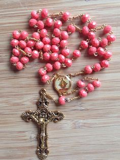 Items similar to Coral and Gold Intricate Infant of Prague Rosary on Etsy Rosary Prayer, Holy Rosary, Rosary Catholic, Catholic Gifts, Prayer Beads, Infant Of Prague, Blessed Mother Mary, Coral And Gold, Rosary Beads