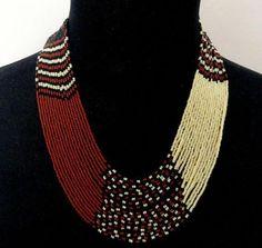 African style Zulu beaded multistrand necklace black brown cream beige, Beaded multistrand necklace via Etsy Beads Jewelry, Beaded Jewelry Designs, Tribal Jewelry, Jewelry Art, Jewelery, Fashion Jewelry, Handmade Jewelry, African Necklace, African Beads