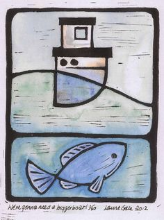 Limited edition print Seascape fishing boat fish by Lou Gale Artist and Illustrator