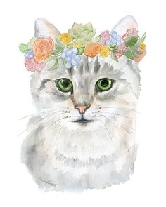 Gray Tabby Cat with Flowers watercolor giclée reproduction. Portrait/vertical orientation. Printed on fine art paper using archival pigment inks. This quality printing allows over 100 years of vivid c