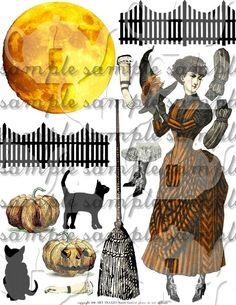 Victorian Halloween Collage Sheet Digital File Witch Decoration ART TEA LIFE paper doll clip art pumpkin moon black cat broom via Etsy