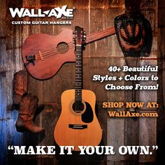 """Showing off your guitars has never been so expressive!  Wall-Axe Custom Guitar Hangers hang up to 3 of your prized guitar on your wall with style that can only be yours. """"Make It Your Own"""" at www.WallAxe.com"""