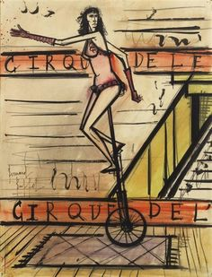 Bernard Buffet - LE MONOCYCLE; Creation Date: 1966; Medium: brush and ink, watercolour, and pencil on paper laid down on canvas; Dimensions: 65 by 49.5cm