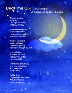 Bedtime Yoga for Kids helps kids get ready for bed and invites peaceful sleep. Mindfulness for Kids Mindfulness For Kids, Mindfulness Activities, Mindfulness Meditation, Meditation Kids, Mindfulness Quotes, Bedtime Meditation, Bedtime Yoga, Sleep Yoga, Bedtime Music