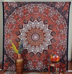 Indian Tapestry Maroon Floral Mandala Printed Wall Hanging Decor Double BedSheet