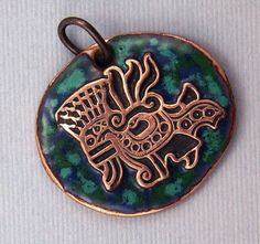 Aztec Jaguar Pendant  Handcrafted Etched Copper by WildRavenStudio, $22.00