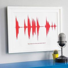SMALL Personalized Your Voice Sound Wave Print. Unique Gift For Him Her Free Shipping Worldwide Science Giclee A4 Mother's or Father's Day
