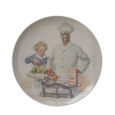 vintage Kitchen Wall Plate This lovely vintage Cream of Wheat advertisement shows a curly haired little boy weighing up vegetables...