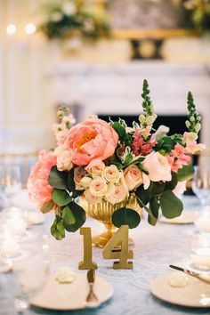 #centerpiece with gold table number, blue tablecloth | Perry Vaile Photography