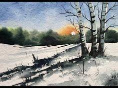 How to Paint A Snowy Winter Landscape Winter Scenes To Paint, Winter Scene Paintings, Winter Painting, Winter Art, Watercolor Pictures, Watercolor Landscape Paintings, Impressionist Landscape, Painting Abstract, Abstract Landscape