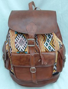 Just got this for college! Super excited!!! Vintage Real Leather Bag Rucksack Backpack Boho Aztec Chic A4 (Many Patterns)   eBay
