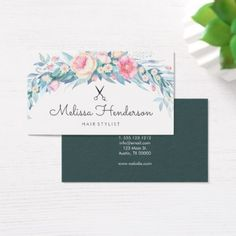 Hair Stylist Watercolor Floral Handwritten Script Business Card - girly gifts special unique gift idea custom