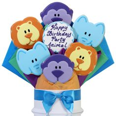 images of cookie bouquets   Party Animal Birthday Cookie Bouquet