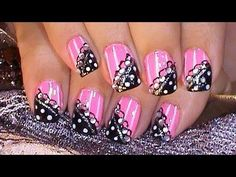 Fun Pink & Black Nail Design Tutorial