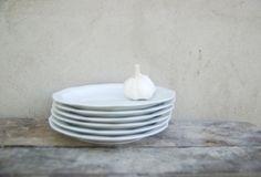 Vintage German ceramic dinner plate set of 5 - kitchen decor retro cottage plate - vintage dinnerware -  geometric ornament white plate