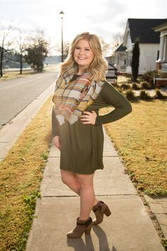 Olive Green Piko Dress