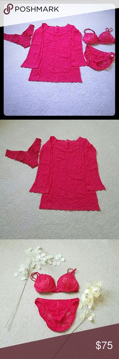 ♡❤February Lingerie Bundle Sale!!!♡❤ ♡Sexy Victoria Secret red lace lingerie separates♡ -- Lace baby doll -- Size medium♡ -- Cheeky lace panty -- Size large♡-- Lace padded bra -- Size 36C -- Lace bikini panty -- Size medium♡  Reasonable offers welcome! No low ball offers or trades! :o)   ☆Additional individual photos of each item available for review!☆ Victoria's Secret Intimates & Sleepwear Chemises & Slips
