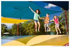 NRMA Treasure Island Holiday Park - Biggera Waters:  Jumping pillow.  #TrunkiHoliday