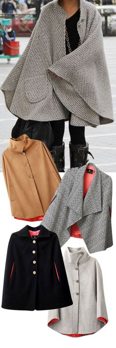 Love the cape coat! Winter Wear, Autumn Winter Fashion, Mode Style, Style Me, Love Fashion, Womens Fashion, Fashion Trends, Winter Outfits, Casual Outfits