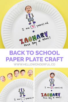 Celebrate back to school with this cute photo paper plate craft Kindergarten Crafts, Preschool Crafts, Fun Crafts, Back To School Crafts For Kids, Crafts For Kids To Make, Paper Plate Crafts, Paper Plates, Math Story Problems, Kids Learning Activities