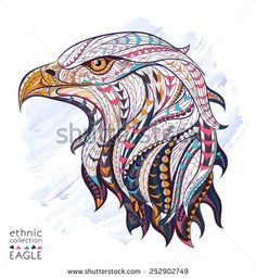 Patterned head of eagle on the grunge background. African / indian / totem / tattoo design. It may be used for design of a t-shirt, bag, postcard, a poster and so on.   - stock vector