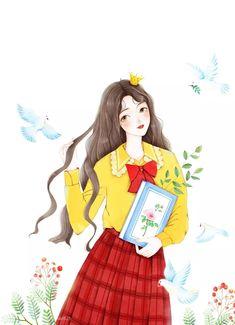 Cute Cartoon Girl, Cartoon Art, Korean Illustration, Cute Art Styles, Chibi Girl, Cover Pics, Anime Art Girl, Girls Life, Love Pictures