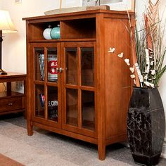 Mission Craftsman Shaker Solid Pine Bookcase Multipurpose Cabinet - New! Pine Bookcase, Bookcase With Glass Doors, Bookcase Storage, Bookcases, Storage Cabinets, Bookshelf Ideas, Bookcase Styling, Rustic Media Storage, Style Shaker