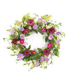 Another great find on #zulily! Daisy & Zinnia Flower Wreath #zulilyfinds