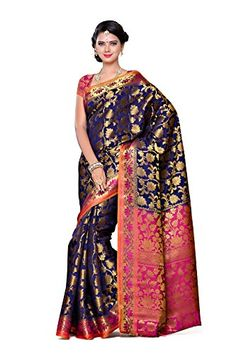 Mimosa Women's Traditional Art Silk Saree Kanjivaram Style With Blouse Color:Navy(3297-153-NVY-RNI ) - http://www.onlinesaleindia.in/product/mimosa-womens-traditional-art-silk-saree-kanjivaram-style-with-blouse-colornavy3297-153-nvy-rni/