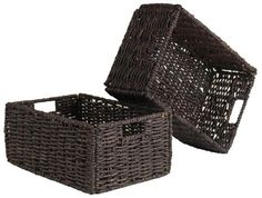 Granville Medium Foldable Baskets (Set of - Winsome Wood Granville Medium Folding Corn Husk Baskets fits nicely on shelves, inside cabinets and any place that may need some organizing. The baskets can be used for bathroom items, craft su