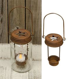 Mason Jar Star Lid Tea Light Holder Rusty Finish Primitive Country Rustic Light ~ Candleholders ~ Olivia Decor - decor for your home and office. Quart Mason Jars, Mason Jar Gifts, Rustic Lamps, Rustic Lighting, Tea Light Candles, Tea Lights, Wood Shop Projects, Tealight Candle Holders, Jar Candle