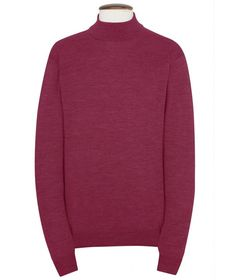 Roll Neck Sweater, Cashmere Blend - Burgundy