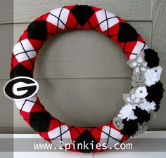"University of Georgia Wreath, Red, Black and White, 18"" Argyle - Two Pinkies Homemade Crafts. $60.00, via Etsy."