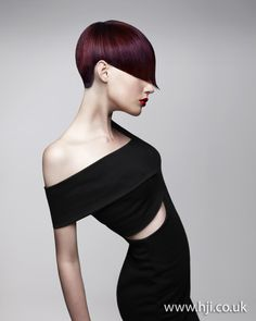 Strong lines bring out cheek bones, beautiful vibrant colour. #Bob, #Sharp lines, #plum colours