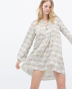 ZARA - WOMAN - EYELET GATHERED PRINTED DRESS