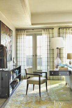 Contemporary Cream Living Room with Custom Bookcase