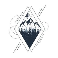 Check out this awesome 'Mountains.+Geometric+Style' design on - Check out this awesome 'Mountains.+Geometric+Style' design on - Check out this awesome 'Mountains.+Geometric+Style' design on - Check out this awesome 'Mountains.+Geometric+Style' design on - Cover Up Tattoos, New Tattoos, Body Art Tattoos, Tattoo Drawings, Small Tattoos, Sleeve Tattoos, Tattoo Sketches, Xoil Tattoos, Stomach Tattoos